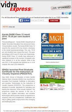 "#BreakingNews@VidyaExpress ""Kerala DHSE Class 12 result 2014: 79.39 per cent student pass"" For more information visit online: http://www.vidyaexpress.com/newsletter/newsletter32/newslttr32.php"