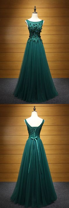 Only $169, Fitted Hunter Green Long Tulle Prom Dress With Applique Lace Bodice #AKE18044 at #SheProm. SheProm is an online store with thousands of dresses, range from Prom,Formal,Party,Evening,Green,A Line Dresses,Long Dresses,Customizable Dresses and so on. Not only selling formal dresses, more and more trendy dress styles will be updated daily to our store. With low price and high quality guaranteed, you will definitely like shopping from us. Shop now to get $10 off!