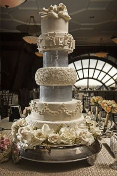 5 Tiered White Wedding Cake // Paul Ernest Photography // www.theknot.com/...   #homedecor #home #lighting