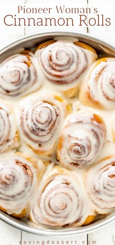 Pioneer Woman's Cinnamon Rolls with maple frosting. This delicious recipe makes a bunch of soft, tender, buttery sweet rolls so feel free to share with family and friends! recipes Pioneer Woman's Cinnamon Rolls - Saving Room for Dessert Pioneer Woman Cinnamon Rolls, Best Cinnamon Rolls, Homemade Cinnamon Rolls, Homemade Breads, Yeast Rolls Recipe Pioneer Woman, Recipe For Cinnamon Rolls, Frosting For Cinnamon Rolls, Pioneer Woman Bread, The Pioneer Woman