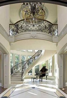 Ideas house entrance architecture grand staircase for 2020 Style At Home, Future House, My House, Villa Plan, Grand Staircase, Spiral Staircase, Floating Staircase, White Staircase, Winding Staircase