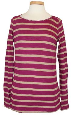 NEW Lucky Brand Womens Shirt Boatneck Striped Top Pink Tan Cotton Knit Sz XS NWT #LuckyBrand #KnitTop #Casual