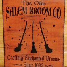 halloween folk art primitive Witch sign Olde Salem Broom Company Co Primitives Witches Signs Plaques halloween props Painting Witchcraft Magic Pagan Wicca by SleepyHollowPrims for $24.00