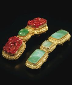 TWO JADEITE AND AGATE-INLAID GILT-BRONZE BELT-BUCKLES, QING DYNASTY, 18TH CENTURY