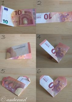 """Geldgeschenk für liebe Menschen Instructions for a heart from a banknote. Related posts: Money Gift élégant et chic Legend Wedding Gift Money – Idea Money Gift To The Wedding Gifts Gifts Ideas – Katrin Bott Small farewell gift for all who are """"Fantastic"""" Diy Birthday, Birthday Gifts, Wrapping Ideas, Gift Wrapping, Creative Money Gifts, Gift Money, Folding Money, Diy And Crafts, Paper Crafts"""