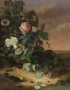 Attributed to George Cochran Lambdin (1830 - 1896) - Still life with flowers, berries and wildlife