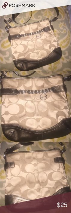 Coach Signature Chain crossbody purse tan bronze Coach Signature purse. Crossbody style.  Preowned. Exterior has a few stains/marks from normal use. Have not attempted cleaning. Overall good condition. Thanks for looking. Coach Bags Crossbody Bags