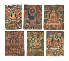 A group of six thangkas Tibet, 18th century or later Opaque pigments on cloth Depicting: (a): Buddha Shakyamuni with life stories  (b): Vajrapani (published, p.51, cat.14) (c): Shakyamuni Buddha (published, pp.18-19, cat.2) (d): Amitayus Buddha  (e): Ushnishavijaya (published, pp.80-81, cat.25) (f): Padmasambhava 24 ¾ x 17 ¼ in. (63 x 44 cm.), the smallest 34 ¼ x 23 ¼ in. (87 x 59 cm.), the largest