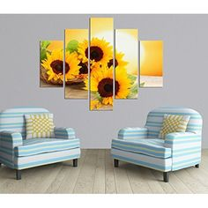 I really like this pretty piece of sunflower home decor. 5 Panel Sunrise Landscape Oil Painting Modern sunflower Picture Canvas Prints for Living Room Décor No Frame Rooms Home Decor, Home Decor Kitchen, Bedroom Decor, Wall Decor, Bedroom Ideas, Sunflower Room, Sunflower Kitchen Decor, Yellow Painted Rooms, Decor Interior Design