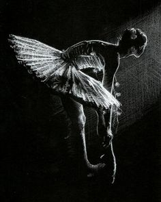 A Figurative drawing of a ballerina - created using simply white pencil on black paper. This is one of a series of small sketches, and comes ready-framed. Black And White Art Drawing, Black Paper Drawing, Black White Art, White Ink, Ballet Drawings, Art Drawings, Life Drawing, Figure Drawing, Charcoal Art