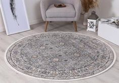 Istanbul Vintage Classic Aynur Blue Round Rug   Pile Height: 5mm Material: 65% Polypropylene,35% Polyester Rug Type: Indoor Easy to clean Style(s): Modern & Contemporary Pattern(s):Vintage, Modern
