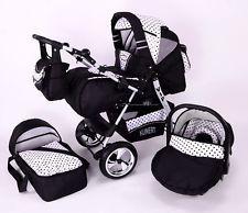 VIP 3 in 1 Baby Pram Pushchair Travel System+ Car Seat Black / Polkadot