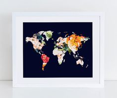 New a world of patterns alternative world map poster alternative large floral world map poster art print instant by decorartdesign gumiabroncs Gallery