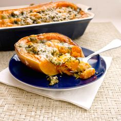Taste of Fall:  Stuffed Butternut Squash-spinach& parmesan
