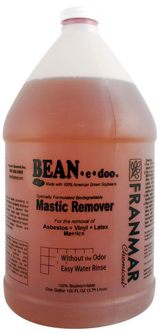 Franmar BEAN-e-doo effectively removes difficult mastics from concrete subfloors. Unlike most adhesive removers which are full of solvents and harmful chemicals that are dangerous to inhale, BEAN-e-doo is very low-odor and low VOC. It's specially formulated from 100% soybean oil and is completely biodegradable.    It's also easy to apply, remove and dispose of and requires no special equipment. It works fast in only a few hours. On really tough jobs, it's low evaporation rate allows it to…