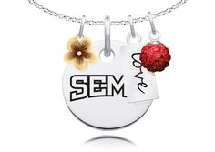 "Southeast Missouri State Red Hawks Cluster Necklace with Flower, Color and Love Accents. Officially Licensed. Standard Chain Length is 16"". Circle Charm Size is 17mm (size of a dime). Crystal Ball Measures 5mm in Diameter. ""The indicia featured on this product is a protected trademark owned by the respective college or university.""."