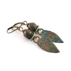 Patinaed Brass Leaf Earrings  Metal Earrings  by CinLynnBoutique