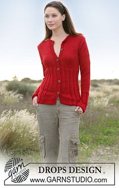 Ravelry: 100-2 Jacket with rib in Silke Alpaca pattern by DROPS design