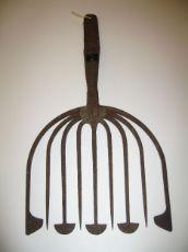 "Summer Eel Spear. Wrought-Iron. 16-1/2"" Long x 8 3/4"" Wide. Circa 1900."