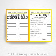 Baby Shower Diaper Bag Game Price is Right Game Side by Side Construction Dump Truck Baby Shower Party Printable Instant Download  This is an