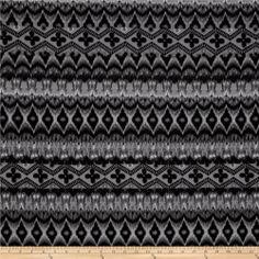 Designer Stretch ITY Abstract Grey/Black