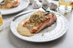 pan-crisped salmon with light dijon cream and garlic butter breadcrumbs