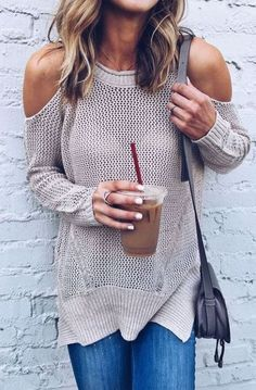 Off the shoulder sweaters are perfect for fall!