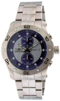 Men's Wrist Watches - Invicta Signature II Chronograph Blue and Silver Dial Stainless Steel Mens Watch 7383 *** Learn more by visiting the image link.