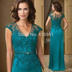 Vestido mae da noiva Hunter elegante V Neck Lace mãe dos vestidos de noiva Plus Size Chiffon noite calças da luva do tampão M2194