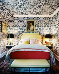Chinoiserie wallpaper covering the walls and ceiling of a room with an upholstered bed. » Whoa, just whoa!