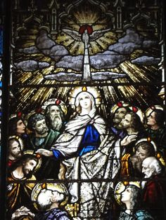 Our Lady, Spouse of the Holy Spirit, pray for us!  (c)Mary TV 2013 ~ Stained Glass Window, Christ the King Church South Bend, IN.