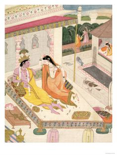 Krishna and Radha on a Bed in a Mogul Palace, Punjab, c.1860 Giclee Print at Art.com