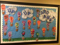 Up up and away. Bulletin board. Air transportation. Preschool.