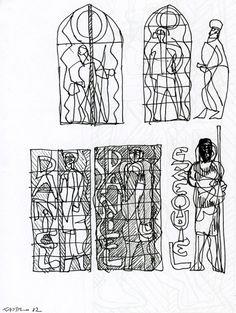 Nevers, cathédrale Notre-Dame, esquisses pour les vitraux, signées Castro 1982, Archives privées Sergio de Castro. Phot. Céline Gumiel.