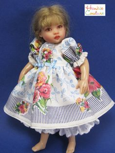 """2-14-17 auction: FOUR piece auction includes: *OOAK Vintage Handkerchief Doll dress*White Felt embroidered Jacket *White Felt Hat  *Matching Bloomers  Vintage Hankie Dress features a very unusual design mixing bouquets of flowers with navy blue stripes as well as """"Sky blue"""" leaves!    A joy to create!"""