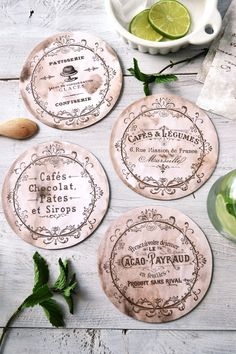 DIY French CD Coaster Project by Dreams Factory for The Graphics Fairy! Such a fun repurposed craft project!
