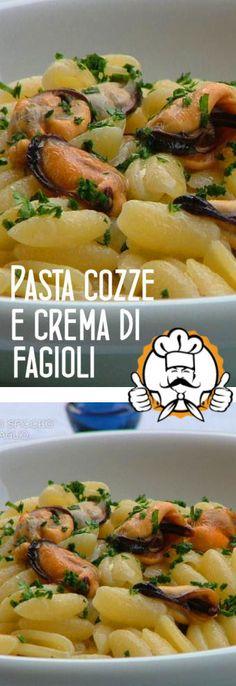 Pasta cozze e crema di fagioli Pasta E Fagioli, Croissant, Nom Nom, Seafood, Spaghetti, Food And Drink, Fish, Chicken, Cooking