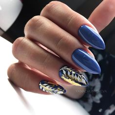 30 Leaf Nail Art Ideas to Try in Seasons - dark blue Acrylic short oval nails design for summer nails, Cute natural oval nails for spring nails, Gel oval nails design acrylic Acrylic Nail Designs, Nail Art Designs, Acrylic Nails, Nails Design, Blue Nails, My Nails, Nails With Gold, Dark Gel Nails, Short Oval Nails