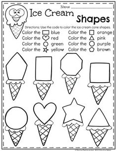 Preschool Shapes Worksheets - Ice Cream Theme #shapesworksheets #preschoolworksheets #icecreamworksheets #summerworksheets #planningplaytime