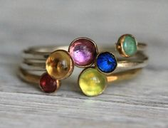 Two Gemstone, Double Birthstone Adjustable 3 Stacking Ring Set -  Recycled Sterling Silver & Gold Personalized Ring By Pale Fish NY by palefishny on Etsy https://www.etsy.com/listing/161807973/two-gemstone-double-birthstone