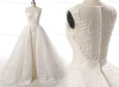 Lace Wedding Dress 100% Handemade Overskirts Bridal Gowns /Champagne/Ivory Wedding Dress With Detachable Long Lace Train For Church