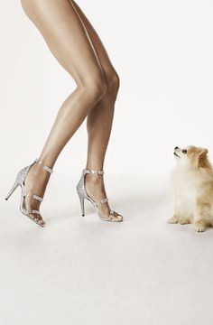 featuring Tamara Mellon's Frontline 105mm Silver Glitter Heel Sandal