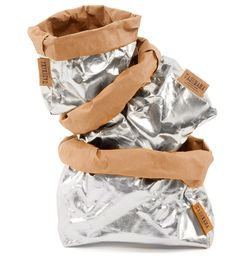 4954d45d8355 Uashmama Washable Metallic Paper Bag (Silver Brown) LARGE Metallic Gold