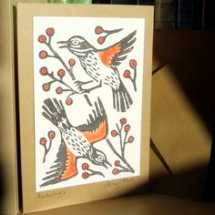 Redwings Linocut Card £2.00