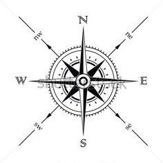 Silueta brújula de la Rosa de los vientos de vector