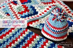 My Merry Messy Life: Crochet Newborn Baby Boy Layette Set with Hat, Blanket and Cocoon