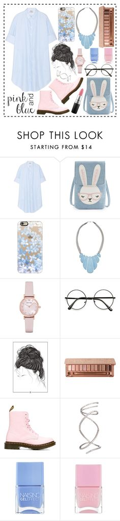 """""""Pink and Blue"""" by riantisucii ❤ liked on Polyvore featuring Acne Studios, Casetify, John Lewis, Emporio Armani, Urban Decay, Dr. Martens, Nails Inc. and MAC Cosmetics"""