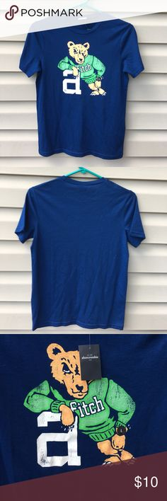 Abercrombie NWT kids boys short sleeve navy shirt Nice boys tee with bear on front leaning on letter a . 60% cotton 40% polyester. NWT abercrombie kids Shirts & Tops Tees - Short Sleeve
