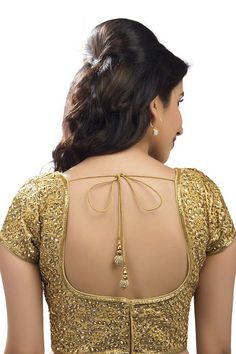 #Gold festive wear raw #silk enticing #embroidered #blouse -BL573