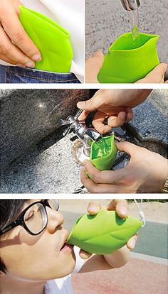 Silicone portable leaf cup! Good for travel or camping #product_design #stockingstuffer